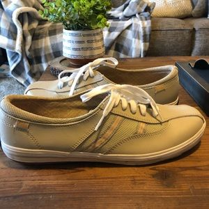 Keds tan faux leather sneakers.